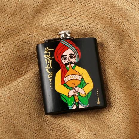 Chora Been Bajawe - Rajasthani Themed Hip Flask