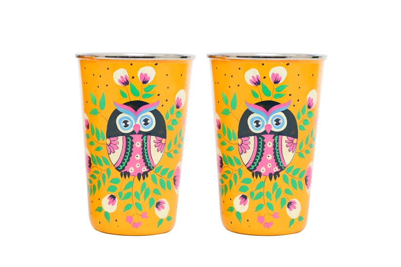 Steel Tumbler Big- Owl Eye Yellow