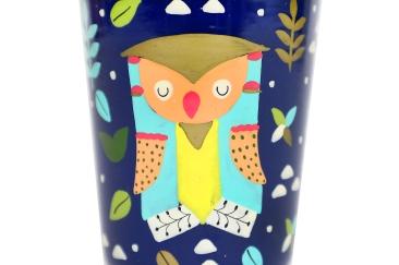 Steel Tumbler Small - Owl Tie Blue