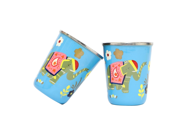 Steel Tumbler Small -  Elephant Star Blue