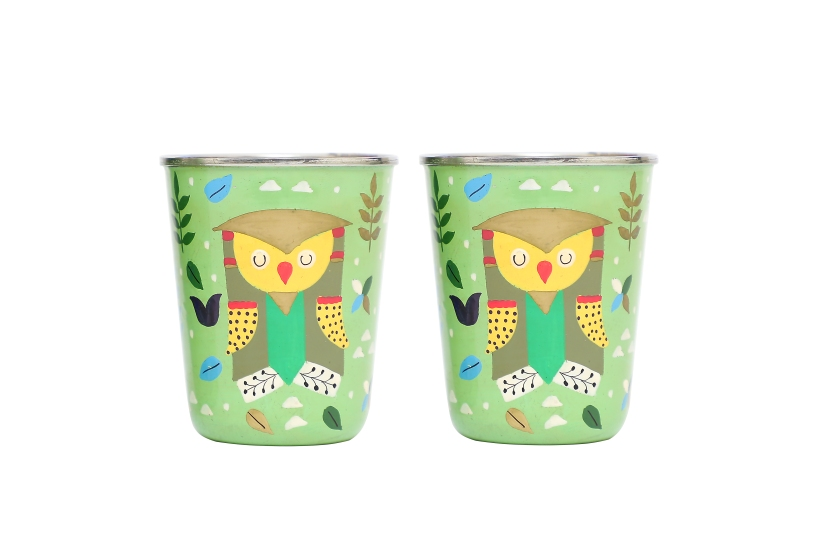 Steel Tumbler Small - Owl Tie Green