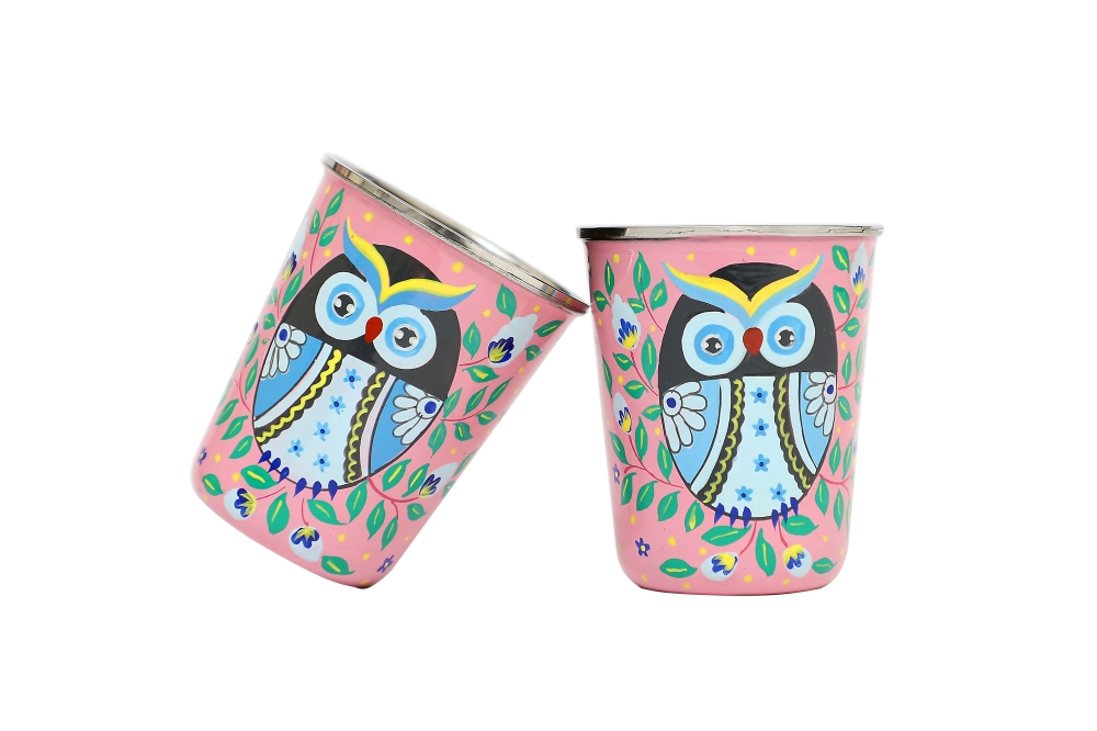 Stainless Steel Tumblers Small - Owl Eye Pink