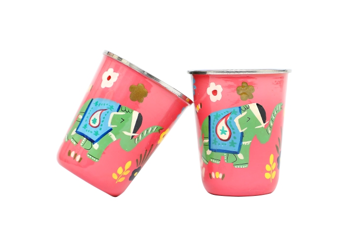 Stainless Steel Tumbler Small- Elephant Small Pink