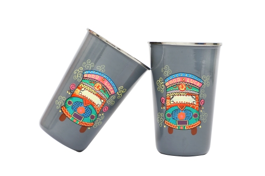 Stainless Steel Tumbler - Truck Theme Grey