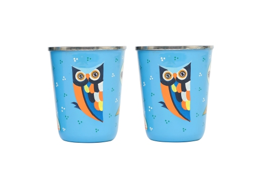 Stainless Steel Tumbler Small - Owl Feather Blue